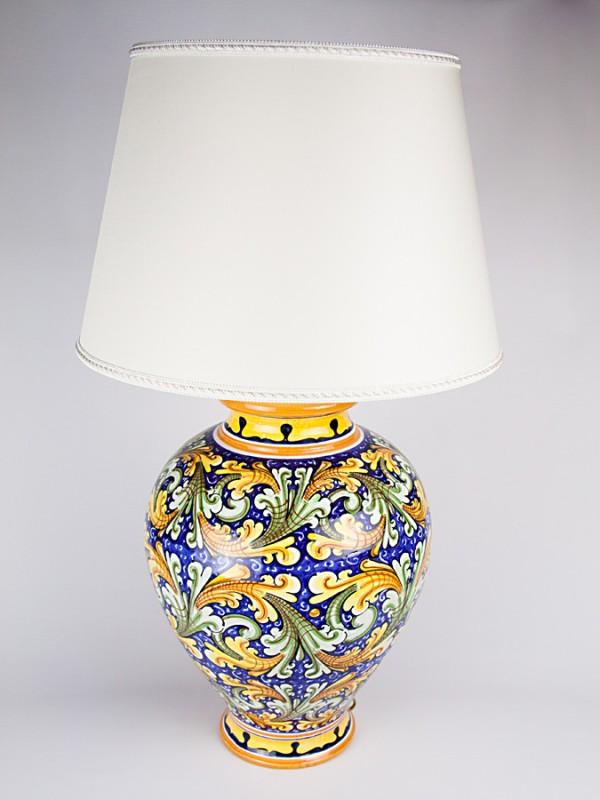 Lume con decoro Ornato (H 79) Lumi - CeramicArt Caltagirone