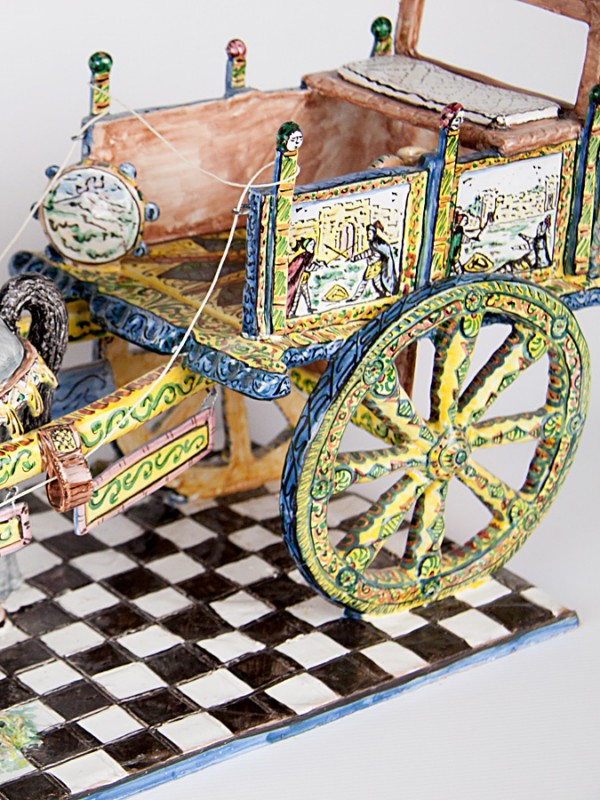 Carrettino siciliano con cavallo (Ø 67) Sculture - CeramicArt Caltagirone