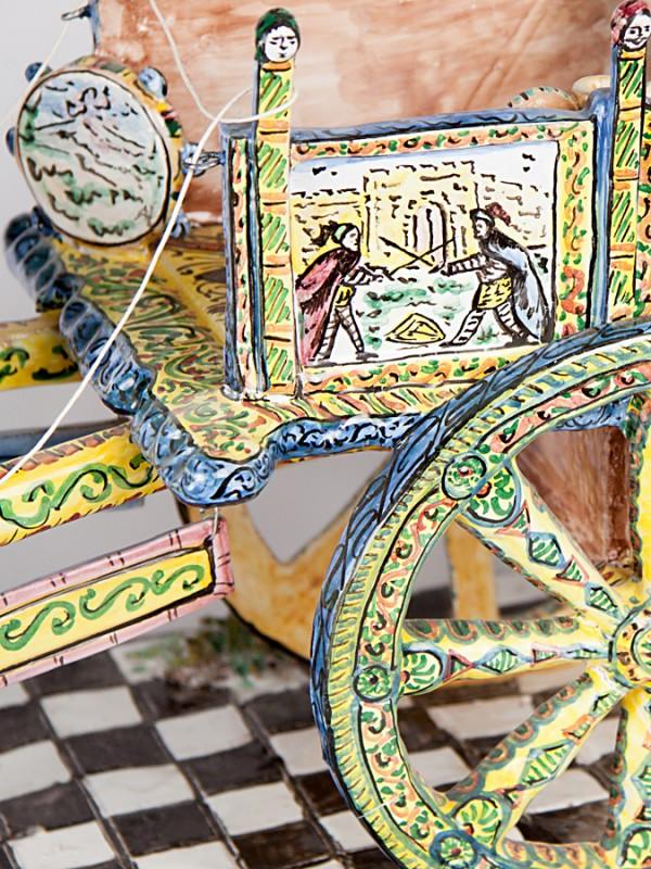 Carrettino siciliano con cavallo (Ø 67) Sculture - CeramicArt Caltagirone