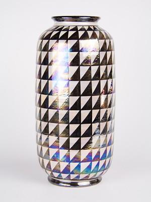 Vaso cilindrico con decoro punta di diamante (H 35)