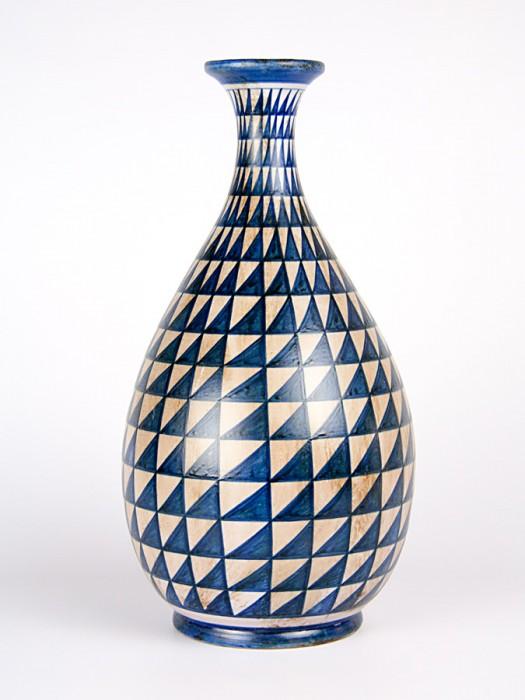Vaso a bottiglia con decoro punta di diamante blu antico (H 36)