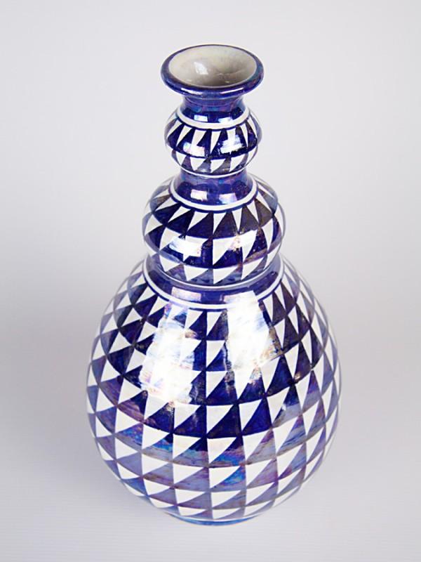 Vaso a bottiglia con decoro punta di diamante (H 33) Vasi - CeramicArt Caltagirone