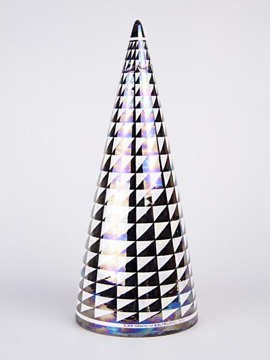 Vaso a bottiglia con tappo con decoro punta di diamante (H 50)