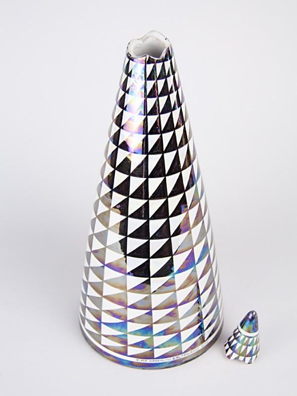 Vaso a bottiglia con tappo con decoro punta di diamante (H 50) Vasi - CeramicArt Caltagirone
