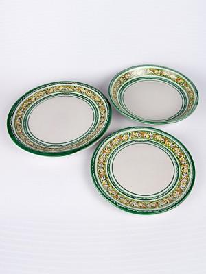 Servizio piatti piano, fondo e frutta con decoro seicento merletto smeraldo