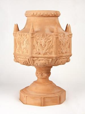 Vaso a coppa porta pianta a guglie gotiche in terracotta (Ø 32)