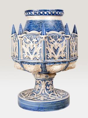 Vaso a coppa porta pianta a guglie gotiche maiolicato (Ø 32)