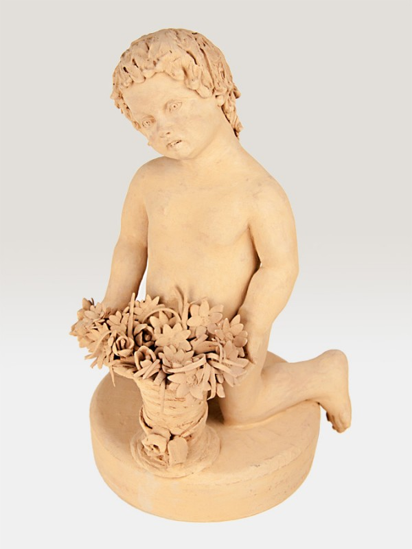 Putto in terracotta ispirato alla primavera (H 40) Elementi da Giardino - CeramicArt Caltagirone