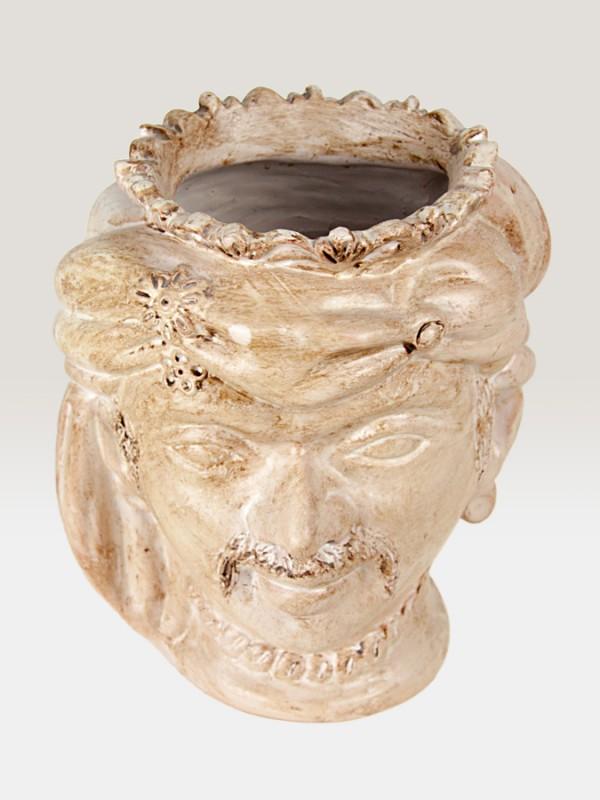 Testa saraceno bianca porta pianta da giardino (H 35) Elementi da Giardino - CeramicArt Caltagirone