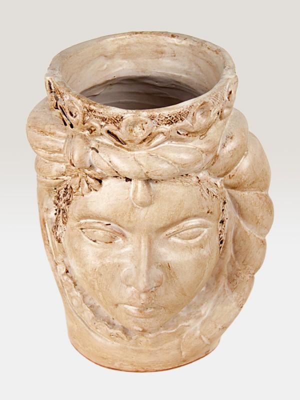 Testa principessa bianca porta pianta da giardino (H 35) Elementi da Giardino - CeramicArt Caltagirone