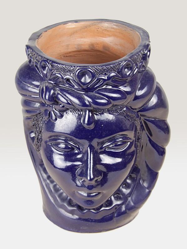 Testa principessa blu porta pianta da giardino (H 35) Elementi da Giardino - CeramicArt Caltagirone