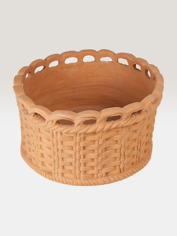 Canestro porta pianta in terracotta intrecciato (Ø 38) Elementi da Giardino - CeramicArt Caltagirone