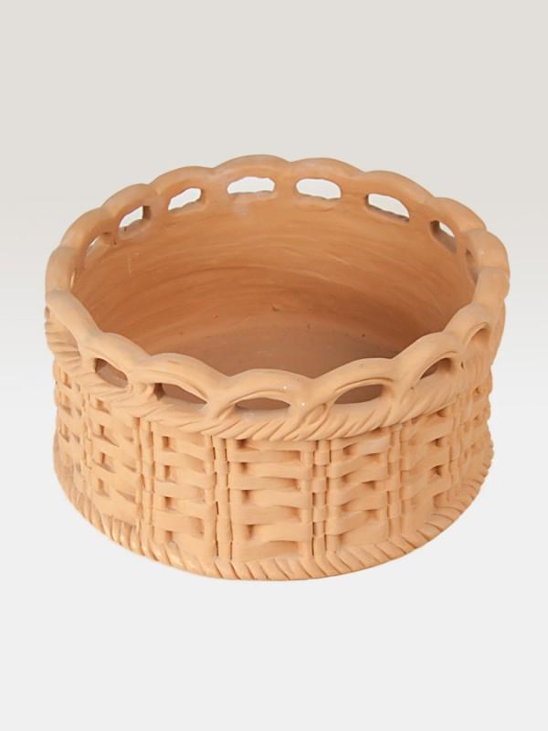 Canestro porta pianta in terracotta intrecciato (Ø 33) Elementi da Giardino - CeramicArt Caltagirone