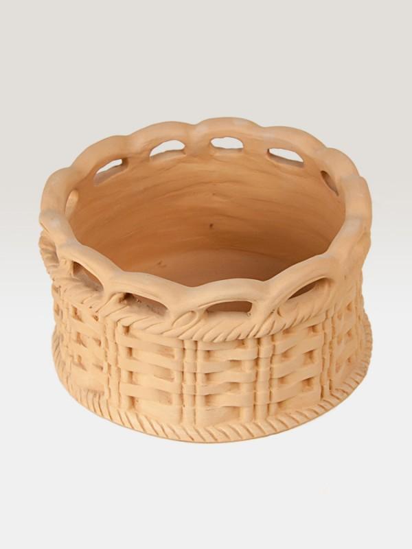 Canestro porta pianta in terracotta intrecciato (Ø 26) Elementi da Giardino - CeramicArt Caltagirone