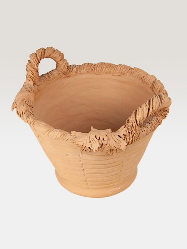Cesto porta pianta in terracotta ispirato all autunno (Ø 37) Elementi da Giardino - CeramicArt Caltagirone