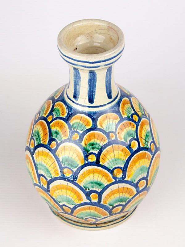 Vaso a bottiglia con decoro a coda di pavone (H 25) Vasi - CeramicArt Caltagirone