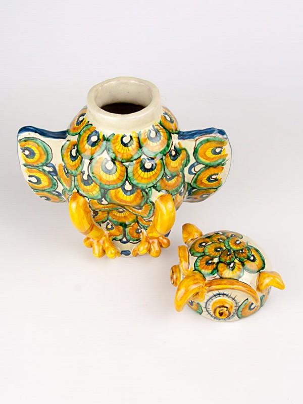 Civetta contenitore con coperchio (H 22) Oggettistica - CeramicArt Caltagirone