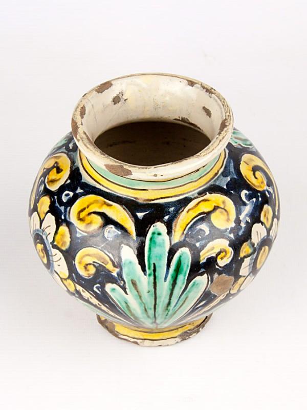 Vaso a boccia anticato con decoro '700 (Tir. Limitata) (H 16) Vasi - CeramicArt Caltagirone