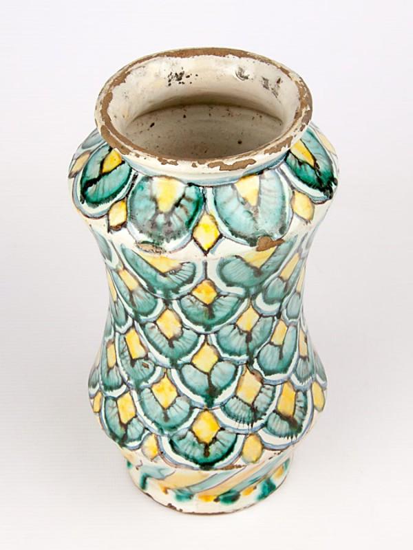 Vaso ad albarello anticato con decoro a coda di pavone (Tir. Limitata) (H 22) Vasi - CeramicArt Caltagirone