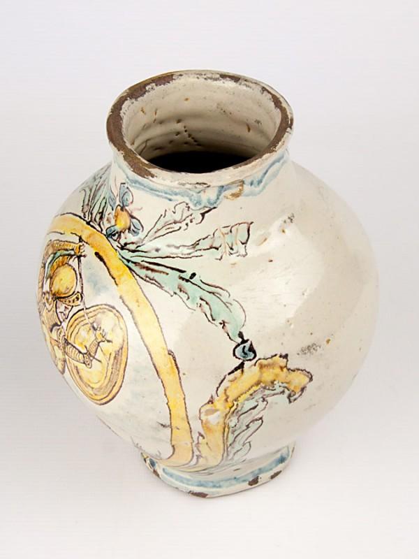Vaso a boccia anticato con paladino (Tir. Limitata) (H 21) Vasi - CeramicArt Caltagirone