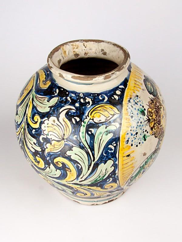 Vaso a palla anticato con innamorati (Tir. Limitata) (H 30) Vasi - CeramicArt Caltagirone