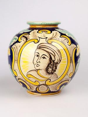Vaso a palla con busto femminile (Tir. Limitata) (H 25)