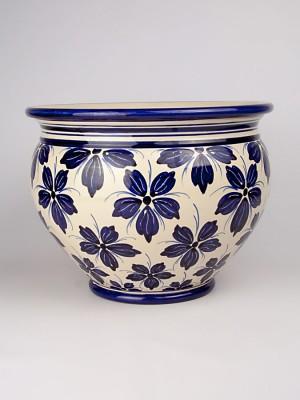 Vaso porta pianta con decoro a fiori (Ø 35)