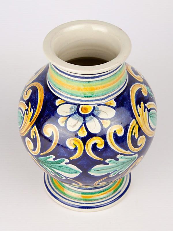 Vaso a boccia con decoro '700 (H 20) Vasi - CeramicArt Caltagirone