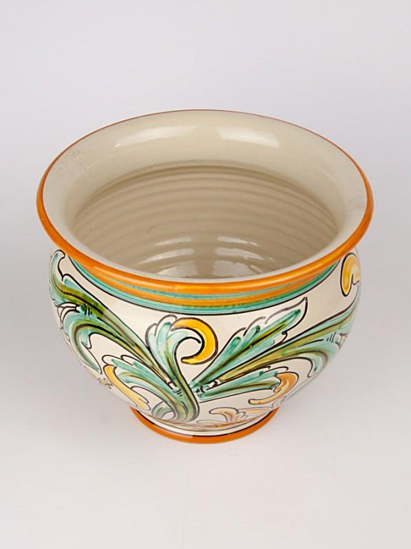 Vaso porta pianta con decoro '700 (Ø 25) Porta piante - CeramicArt Caltagirone