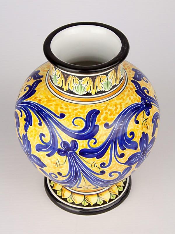 Vaso a boccia con decoro a serie d'arte (H 25) Vasi - CeramicArt Caltagirone