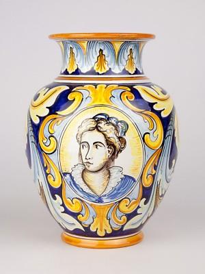 Vaso con busto femminile e decoro ornato (Tir. Limitata) (H 30)