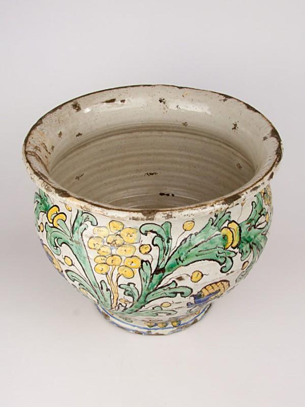 Porta pianta anticato con decoro del '700 (Tir. Limitata) (Ø 35) Porta piante - CeramicArt Caltagirone