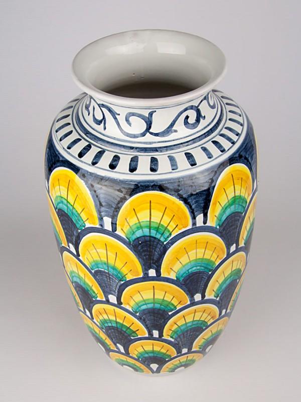 Vaso retto con decoro a coda di pavone (H 40) Vasi - CeramicArt Caltagirone