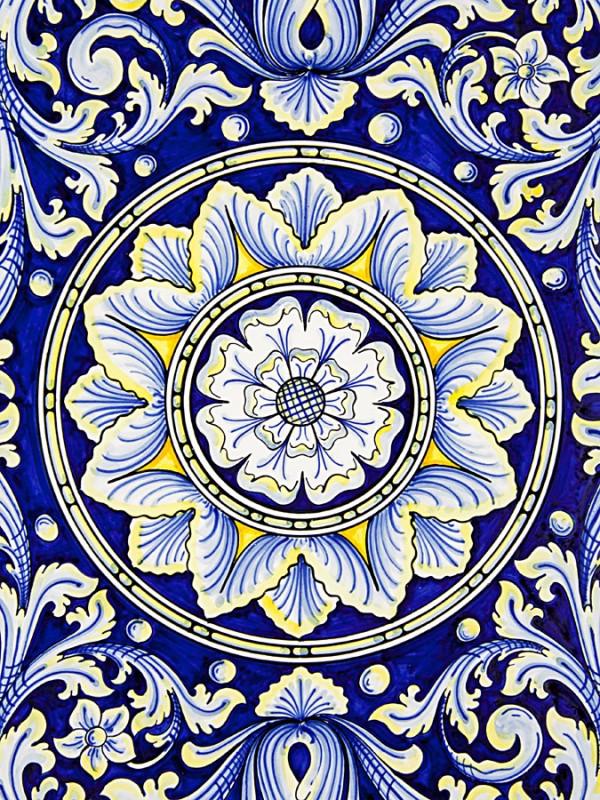 Piatto concavo con decoro ornato (Tir. Limitata) (Ø 60) Piatti Ornamentali - CeramicArt Caltagirone