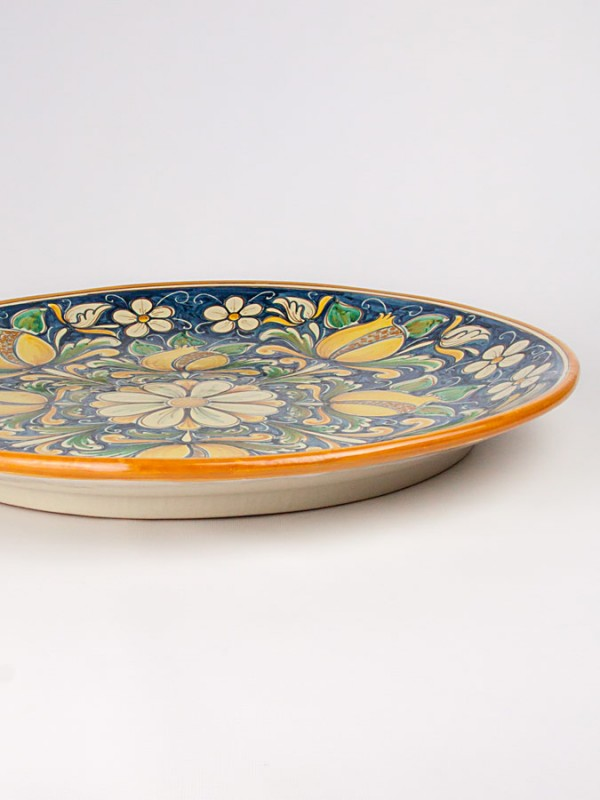 Piatto a disco con decoro '700 (Ø 55) Piatti Ornamentali - CeramicArt Caltagirone