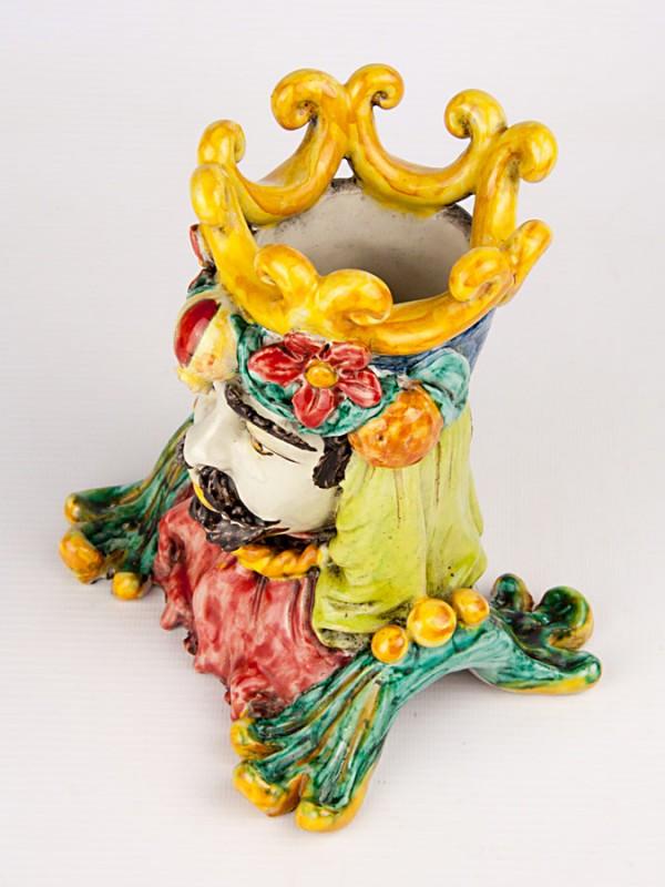 Busto uomo maiolicato con frutta (Tir. Limitata) (H 17) Teste porta piante - CeramicArt Caltagirone