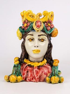 Busto donna maiolicato con frutta (Tir. Limitata) (H 16)