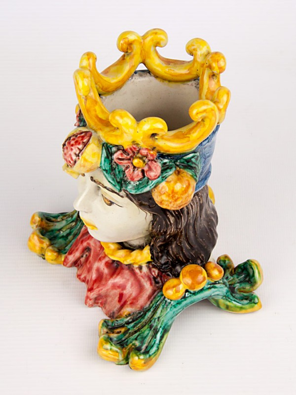 Busto donna maiolicato con frutta (Tir. Limitata) (H 16) Teste porta piante - CeramicArt Caltagirone