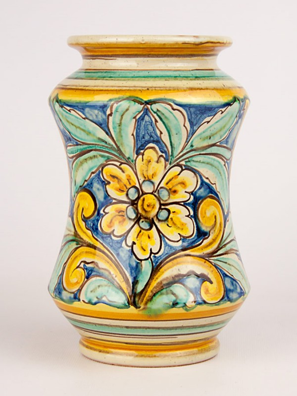 Vaso ad albarello con busto maschile a decoro '700 (Tir. Limitata) (H 20) Vasi - CeramicArt Caltagirone