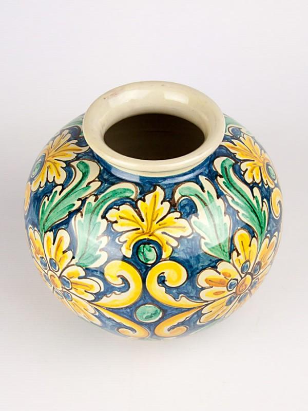 Vaso a palla con decoro '700 (H 20) Vasi - CeramicArt Caltagirone