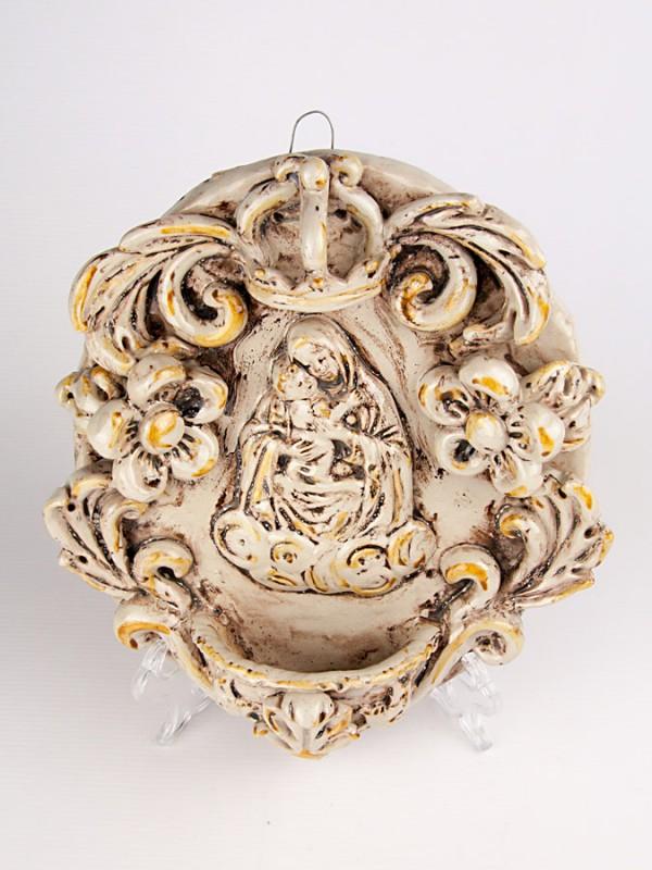 Acquasantiera con Madonna (Tir. Limitata) (H 28) Acquasantiere - CeramicArt Caltagirone